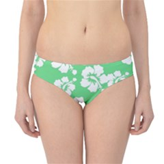 Hibiscus Flowers Green White Hawaiian Hipster Bikini Bottoms