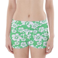 Hibiscus Flowers Green White Hawaiian Boyleg Bikini Wrap Bottoms