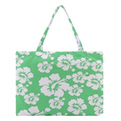 Hibiscus Flowers Green White Hawaiian Medium Tote Bag