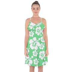 Hibiscus Flowers Green White Hawaiian Ruffle Detail Chiffon Dress