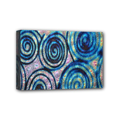 Green Blue Circle Tie Dye Kaleidoscope Opaque Color Mini Canvas 6  x 4
