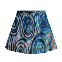 Green Blue Circle Tie Dye Kaleidoscope Opaque Color Mini Flare Skirt