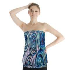 Green Blue Circle Tie Dye Kaleidoscope Opaque Color Strapless Top