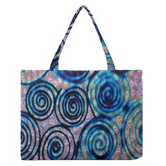 Green Blue Circle Tie Dye Kaleidoscope Opaque Color Medium Zipper Tote Bag