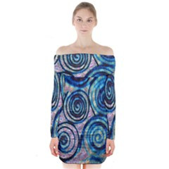 Green Blue Circle Tie Dye Kaleidoscope Opaque Color Long Sleeve Off Shoulder Dress