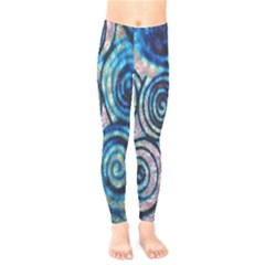 Green Blue Circle Tie Dye Kaleidoscope Opaque Color Kids  Leggings