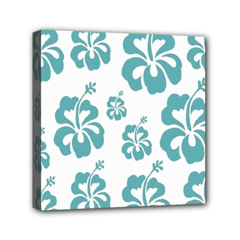 Hibiscus Flowers Green White Hawaiian Blue Mini Canvas 6  X 6
