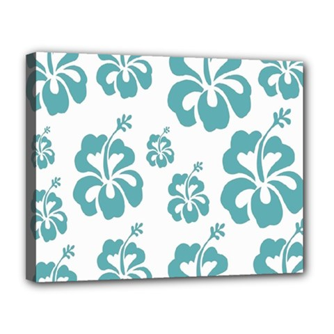 Hibiscus Flowers Green White Hawaiian Blue Canvas 14  x 11