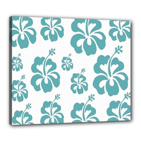 Hibiscus Flowers Green White Hawaiian Blue Canvas 24  X 20
