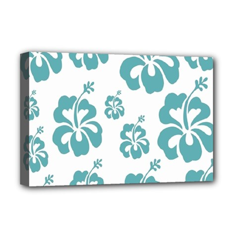 Hibiscus Flowers Green White Hawaiian Blue Deluxe Canvas 18  x 12