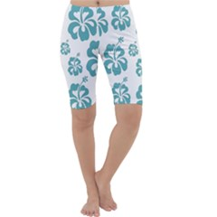 Hibiscus Flowers Green White Hawaiian Blue Cropped Leggings