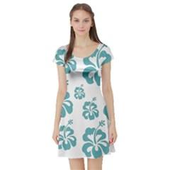 Hibiscus Flowers Green White Hawaiian Blue Short Sleeve Skater Dress