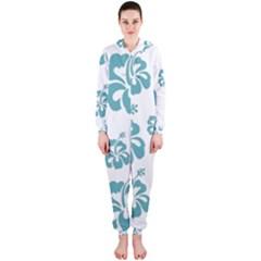 Hibiscus Flowers Green White Hawaiian Blue Hooded Jumpsuit (Ladies)