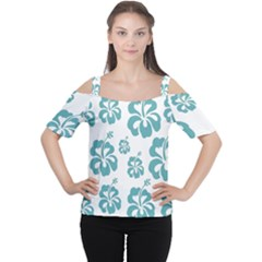 Hibiscus Flowers Green White Hawaiian Blue Women s Cutout Shoulder Tee