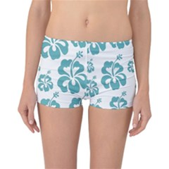 Hibiscus Flowers Green White Hawaiian Blue Reversible Boyleg Bikini Bottoms