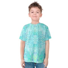 Green Tie Dye Kaleidoscope Opaque Color Kids  Cotton Tee