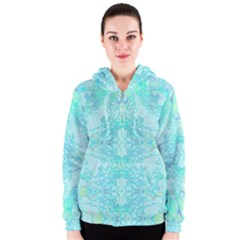 Green Tie Dye Kaleidoscope Opaque Color Women s Zipper Hoodie