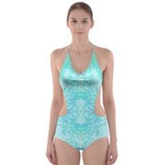 Green Tie Dye Kaleidoscope Opaque Color Cut-Out One Piece Swimsuit