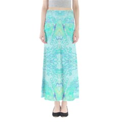 Green Tie Dye Kaleidoscope Opaque Color Full Length Maxi Skirt