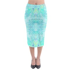 Green Tie Dye Kaleidoscope Opaque Color Midi Pencil Skirt