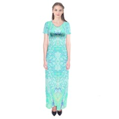 Green Tie Dye Kaleidoscope Opaque Color Short Sleeve Maxi Dress