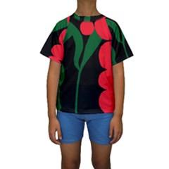 Illustrators Portraits Plants Green Red Polka Dots Kids  Short Sleeve Swimwear