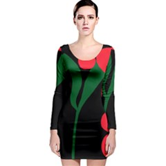 Illustrators Portraits Plants Green Red Polka Dots Long Sleeve Bodycon Dress