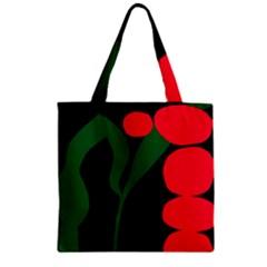 Illustrators Portraits Plants Green Red Polka Dots Zipper Grocery Tote Bag