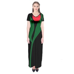 Illustrators Portraits Plants Green Red Polka Dots Short Sleeve Maxi Dress