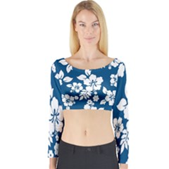 Hibiscus Flowers Seamless Blue White Hawaiian Long Sleeve Crop Top