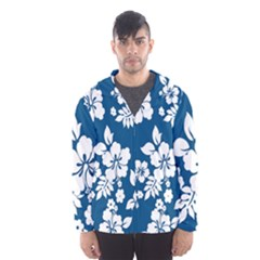 Hibiscus Flowers Seamless Blue White Hawaiian Hooded Wind Breaker (Men)