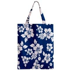 Hibiscus Flowers Seamless Blue White Hawaiian Zipper Classic Tote Bag