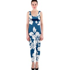Hibiscus Flowers Seamless Blue White Hawaiian OnePiece Catsuit
