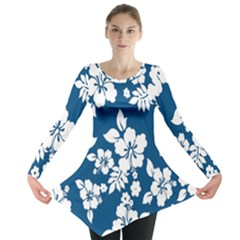 Hibiscus Flowers Seamless Blue White Hawaiian Long Sleeve Tunic