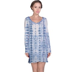 Indigo Grey Tie Dye Kaleidoscope Opaque Color Long Sleeve Nightdress