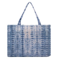 Indigo Grey Tie Dye Kaleidoscope Opaque Color Medium Zipper Tote Bag