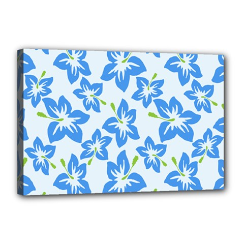 Hibiscus Flowers Seamless Blue Canvas 18  x 12