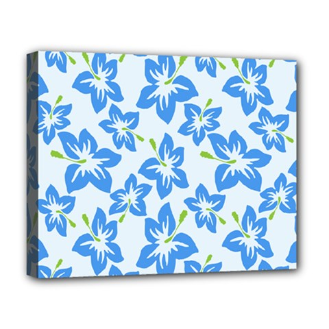 Hibiscus Flowers Seamless Blue Deluxe Canvas 20  x 16