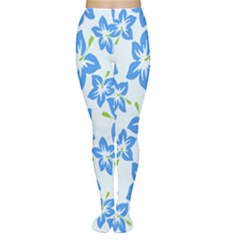 Hibiscus Flowers Seamless Blue Women s Tights