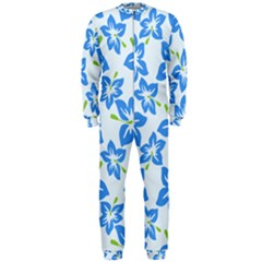 Hibiscus Flowers Seamless Blue OnePiece Jumpsuit (Men)
