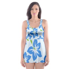 Hibiscus Flowers Seamless Blue Skater Dress Swimsuit