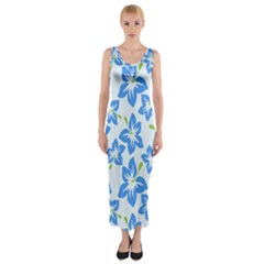 Hibiscus Flowers Seamless Blue Fitted Maxi Dress