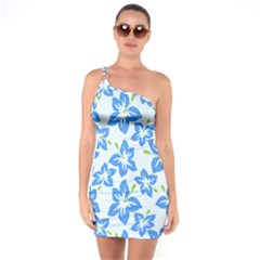 Hibiscus Flowers Seamless Blue One Soulder Bodycon Dress