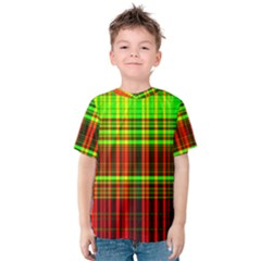 Line Light Neon Red Green Kids  Cotton Tee