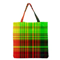 Line Light Neon Red Green Grocery Tote Bag