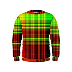Line Light Neon Red Green Kids  Sweatshirt