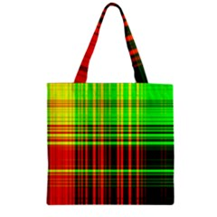 Line Light Neon Red Green Zipper Grocery Tote Bag