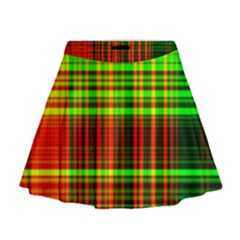 Line Light Neon Red Green Mini Flare Skirt