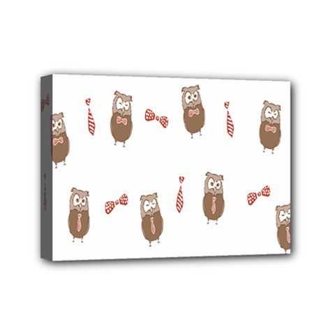 Insulated Owl Tie Bow Scattered Bird Mini Canvas 7  x 5