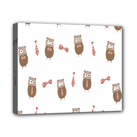 Insulated Owl Tie Bow Scattered Bird Canvas 10  x 8